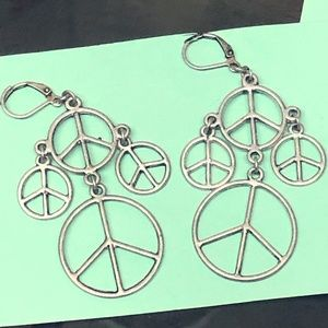 Silver Tone Peace Sign Earrings